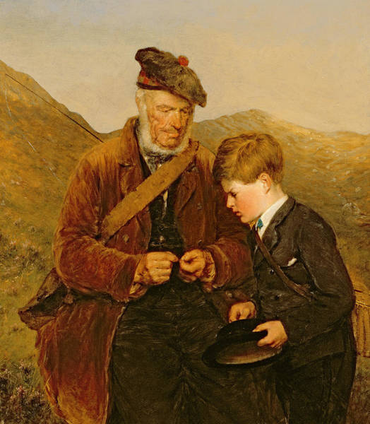 Angling Art Wall Art - Painting - A Willing Pupil by Erskine Nicol