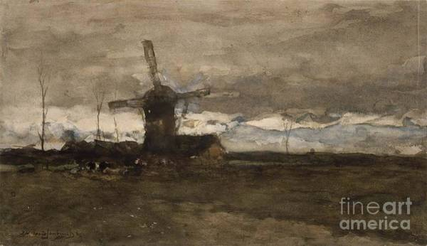 Painting - A Windmill In Holland Moulin by Celestial Images