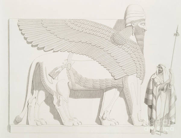 Soldier Drawing - A Winged Human-headed Lion From Nimroud by Austen Henry Layard