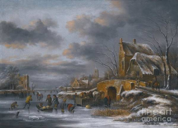 Figure Skating Painting - A Winter Landscape With Figures  by MotionAge Designs