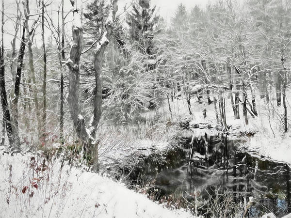 Digital Art - A Winter Reflection Scene. by Rusty R Smith