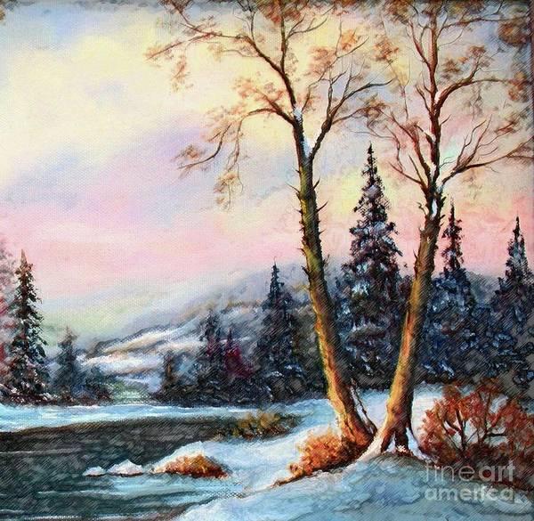 Wall Art - Painting - A Winter Sunset by Hazel Holland