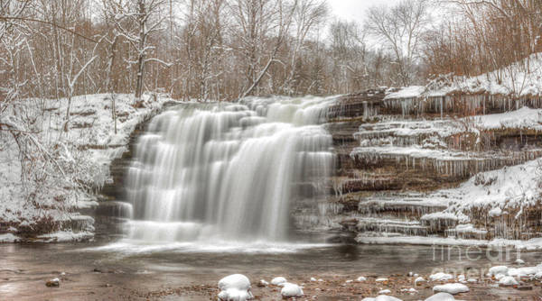 Photograph - A Winter Waterfall - Color by Rod Best
