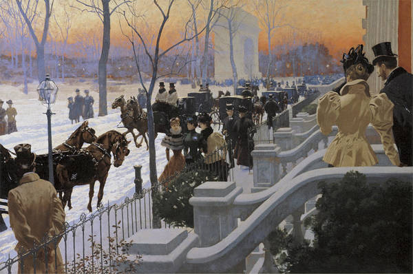 Painting - A Winter Wedding Washington Square by Fernand Lungren
