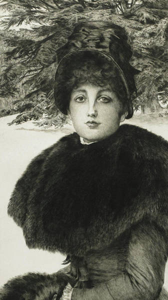 1880 Drawing - A Winter's Walk by James Jacques Joseph Tissot