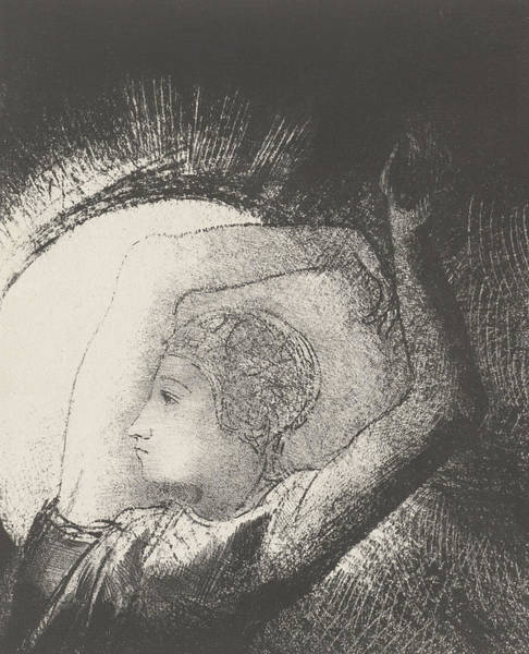 Beam Drawing - A Woman Clothed By The Sun by Odilon Redon