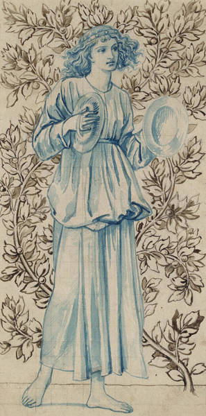 Full Length Drawing - A Woman Playing Cymbals by William Morris