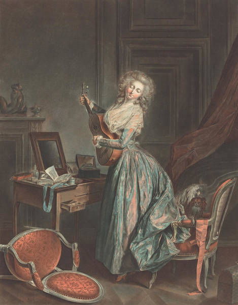 Strum Wall Art - Painting - A Woman Playing The Guitar by Jean-Francois Janinet