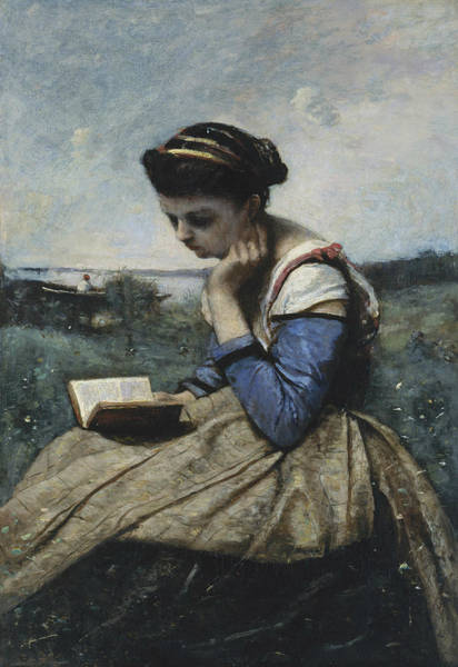 Painting - A Woman Reading by Jean-Baptiste-Camille Corot