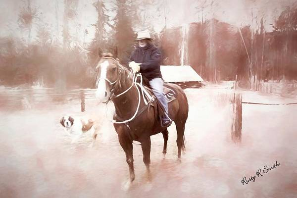 Digital Art - A Woman Sitting On A Horse With St. Bernard Dog Looking On. Bear by Rusty R Smith
