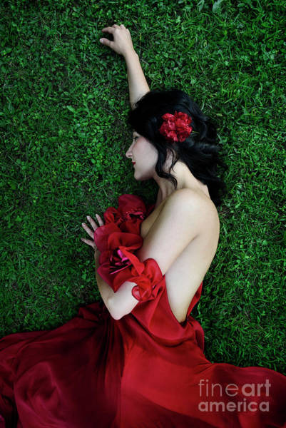 Photograph - A Woman Sleeping On The Grass In A Red Dress by Jelena Jovanovic