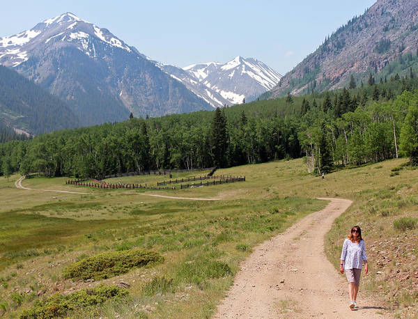 Timberline Photograph - A Woman Walks A Road On The Alpine Loop Backcountry Byway by Derrick Neill
