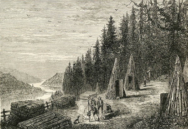 Lumberjacks Drawing - A Woodcutters Camp In The Ardennes by Vintage Design Pics