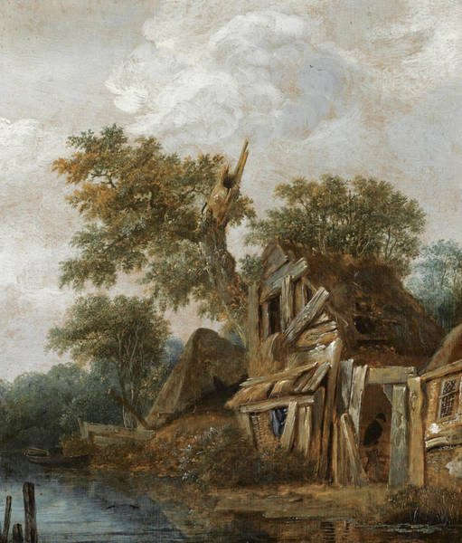 Farmstead Painting - A Wooded Landscape With A Farmstead On The Banks Of A River A Figure Entering The Cottage by Cornelis Gerritsz Decker