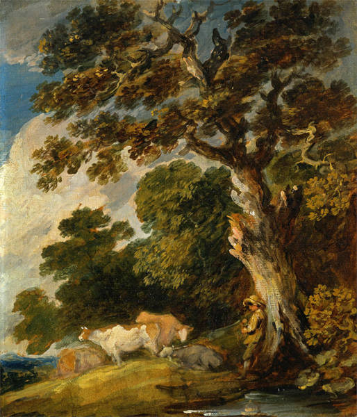 Dupont Wall Art - Painting - A Wooded Landscape With Cattle And Herdsman by Gainsborough Dupont