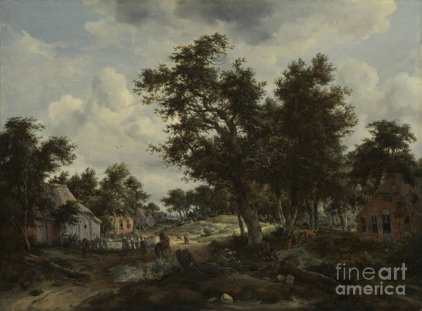 Meindert Hobbema Painting - A Wooded Landscape With Travelers by Celestial Images