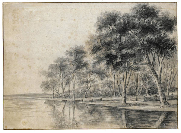 Riverbank Drawing - A Wooded Riverbank by Anthonie Waterloo