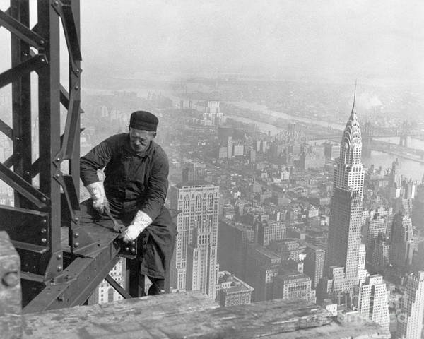 Painting - A Worker Bolts Beams During Construction by Lewis Wickes Hine