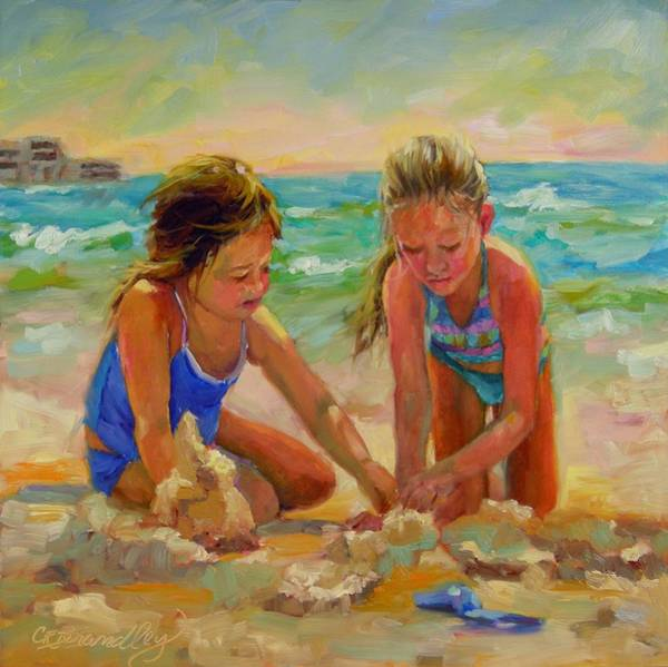 Sand Castle Painting - A World Of Their Own by Chris Brandley