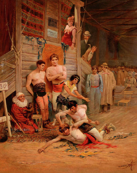 Boxing Painting - A Wrestling Match by British School