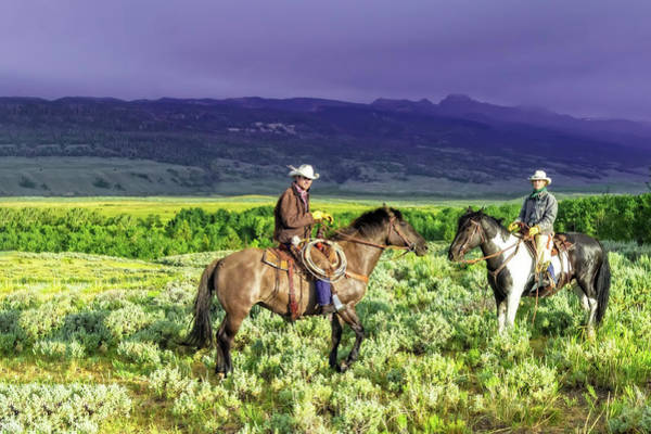 Photograph - A Wyoming Cowboy And Cowgirl - A Portrait by Kay Brewer
