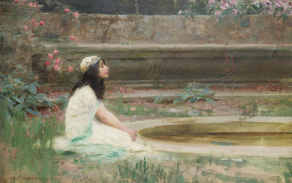 Herbert Draper Painting - A Young Girl By A Pool by Herbert James Draper