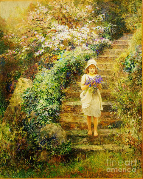 Painting - A Young Girl Carrying Violets by Celestial Images