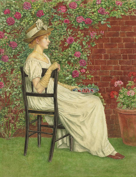 Terracotta Painting - A Young Girl Seated In A Chair, A Bowl Of Cherries In Her Hand by Kate Greenaway