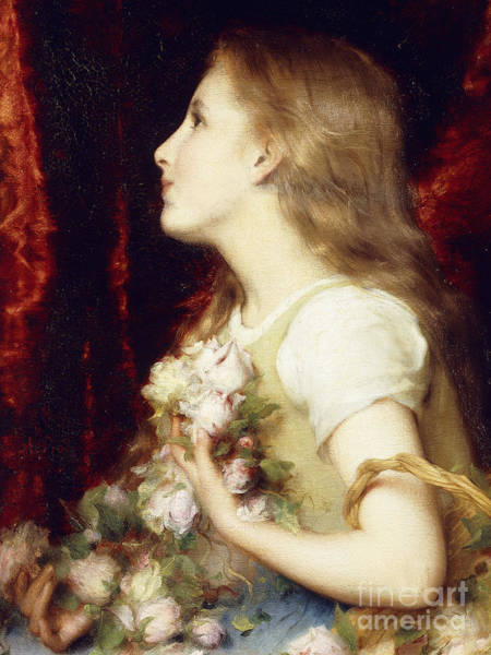 Girly Girl Painting - A Young Girl With A Basket Of Flowers by Etienne Adolphe Piot