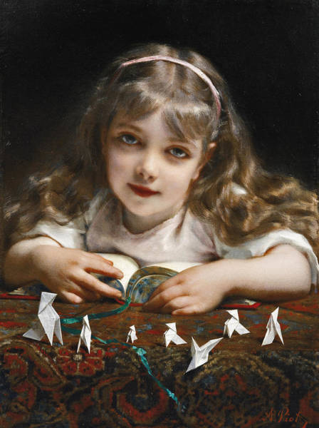 Wall Art - Painting - A Young Girl With Origami Birds by Etienne Adolphe Piot
