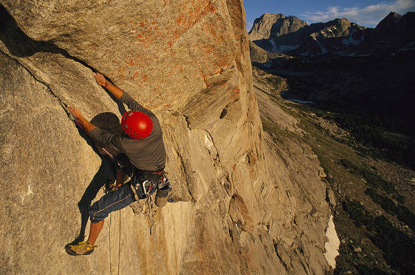Wind River Range Wall Art - Photograph - A Young Man Climbing The North Tower by Bobby Model