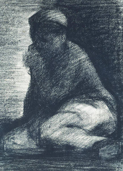 Crayon Drawing - A Young Man Crouching by Georges Pierre Seurat