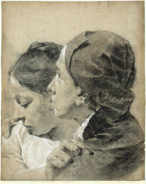 Drawing - A Young Man Embracing A Girl by Giovanni Battista Piazzetta