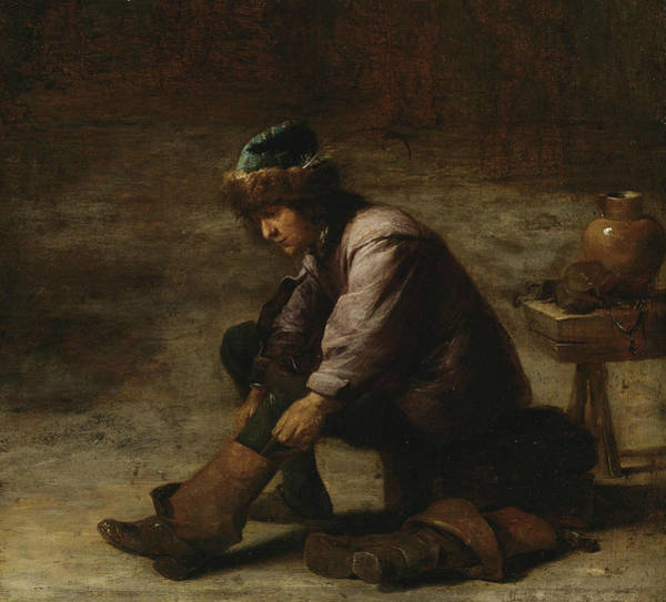 Pulling Painting - A Young Man Pulling On A Boot by David Teniers the Younger