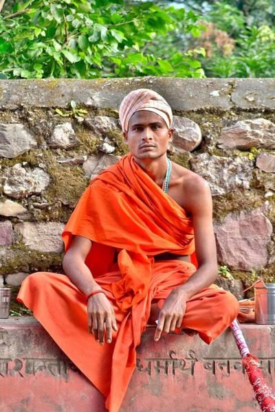 Photograph - A Young Sannyasi At Rishikesh India by Kim Bemis