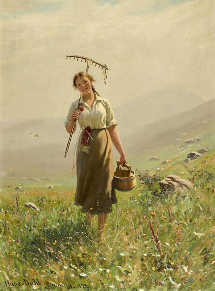 Norwegian Painting - A Young Woman In The Meadow by Hans Dahl