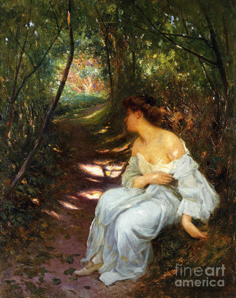 Wall Art - Painting - A Young Woman Seated On A Wooded Path by Albert-Auguste Fourie