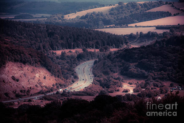 Photograph - A3 Dual Carriageway Cutting Through The South Downs At Butser Hi by Peter Noyce