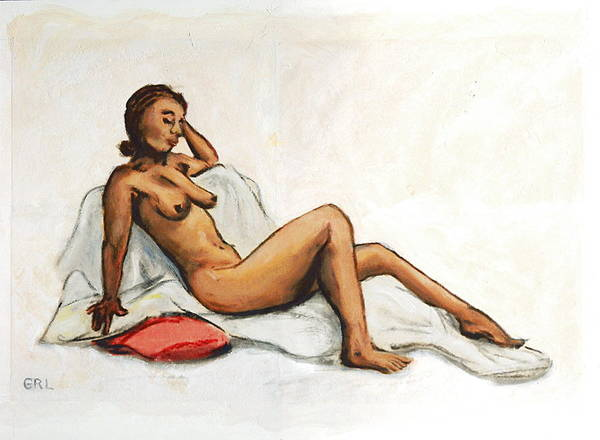 Painting - aAnna Female Nude semi reclining by G Linsenmayer
