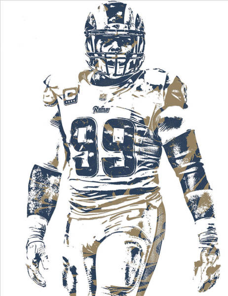 Super Bowl Mixed Media - Aaron Donald Los Angeles Rams Pixel Art 10 by Joe Hamilton