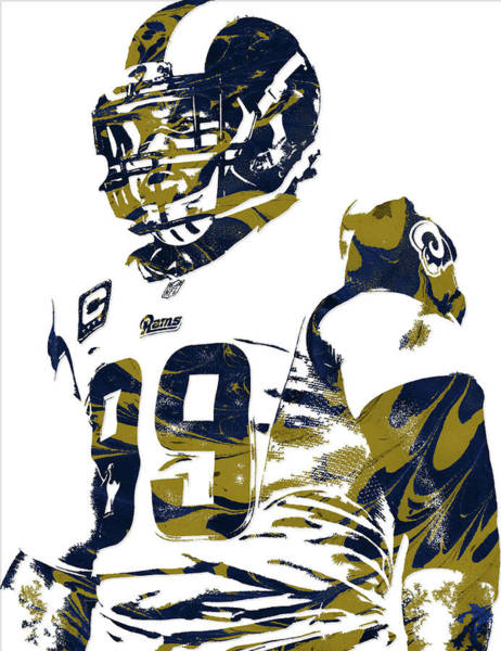 Ram Wall Art - Mixed Media - Aaron Donald Los Angeles Rams Pixel Art by Joe Hamilton