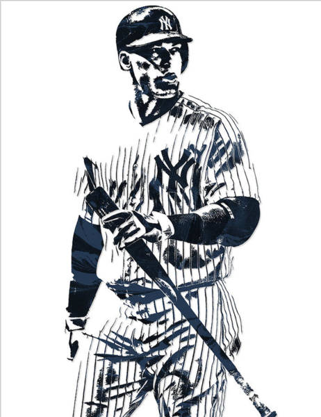Wall Art - Mixed Media - Aaron Judge New York Yankees Pixel Art 12 by Joe Hamilton
