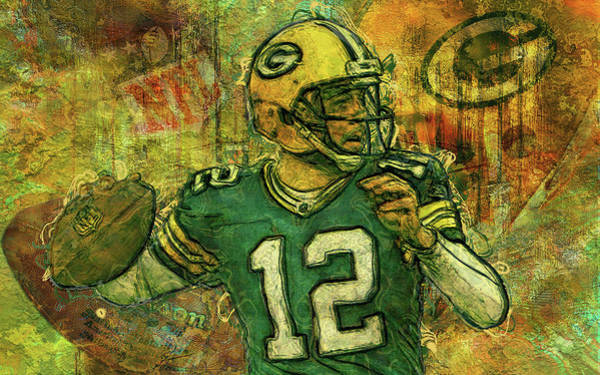 Aaron Rodgers Wall Art - Painting - Aaron Rodgers 2 Green Bay Packers by Jack Zulli
