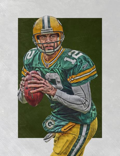 Green Fields Mixed Media - Aaron Rodgers Green Bay Packers Art 5 by Joe Hamilton