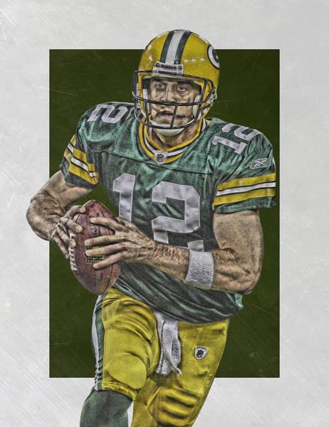 Green Fields Mixed Media - Aaron Rodgers Green Bay Packers Art by Joe Hamilton