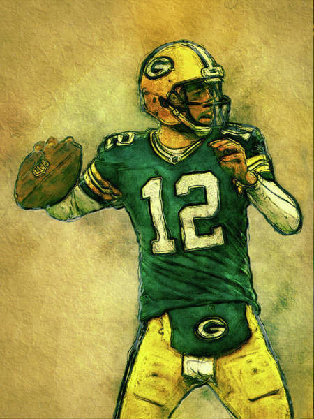 Aaron Rodgers Wall Art - Painting - Aaron Rodgers Green Bay Packers by Jack Zulli