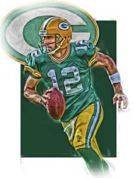 Green Fields Mixed Media - Aaron Rodgers Green Bay Packers Oil Art by Joe Hamilton