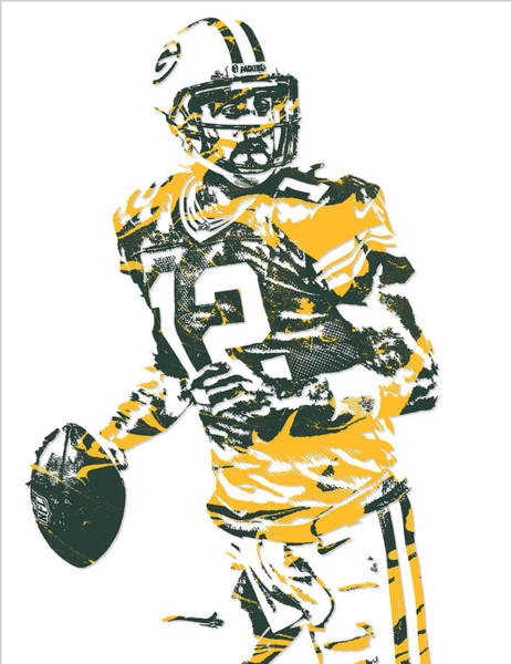 Wall Art - Mixed Media - Aaron Rodgers Green Bay Packers Pixel Art 15 by Joe Hamilton