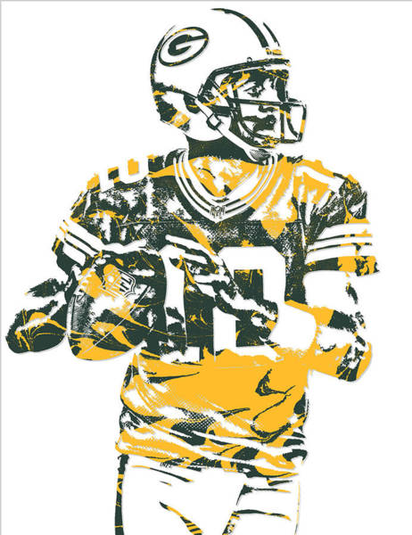 Wall Art - Mixed Media - Aaron Rodgers Green Bay Packers Pixel Art 16 by Joe Hamilton