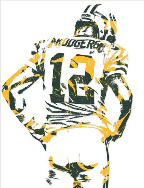 Green Fields Mixed Media - Aaron Rodgers Green Bay Packers Pixel Art 17 by Joe Hamilton